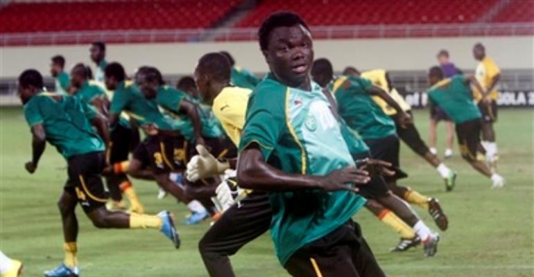 Black Stars training in Cabinda yesterday