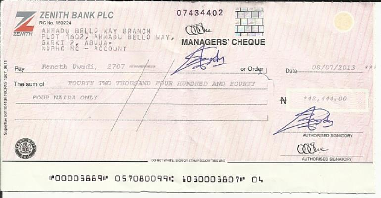 Niger Delta Power Holding Limited And Dud Cheque