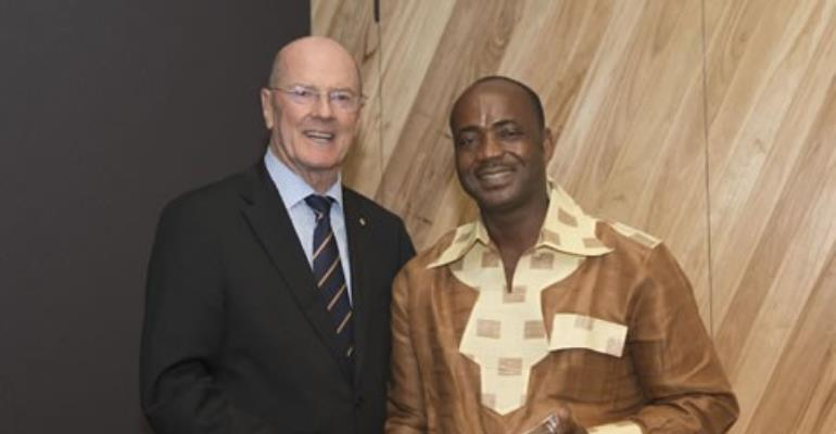B-Bovid CEO Mr. Issa Quedraogo in a shot with a Board member of the UN Global Compact initiative in Australia after picking his award.