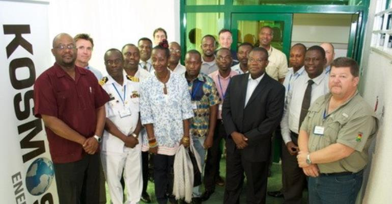 Some of the participants and facilitators in a group photograph with Madam Sherry Ayittey, Minister of Environment, Science, and Technology.