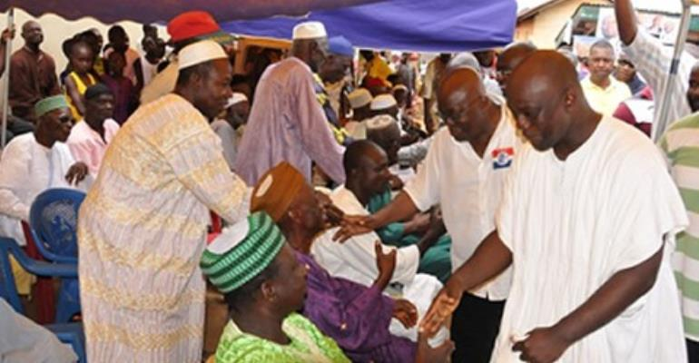 Nana Akufo-Addo greeting some elders of Koforidua Zongo in his tour of the Eastern region