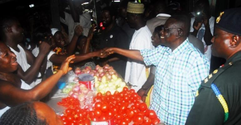 President Mills visit some markets in the Accra metropolis