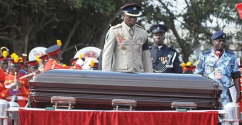 The casket bearing the mortal remains of the late President