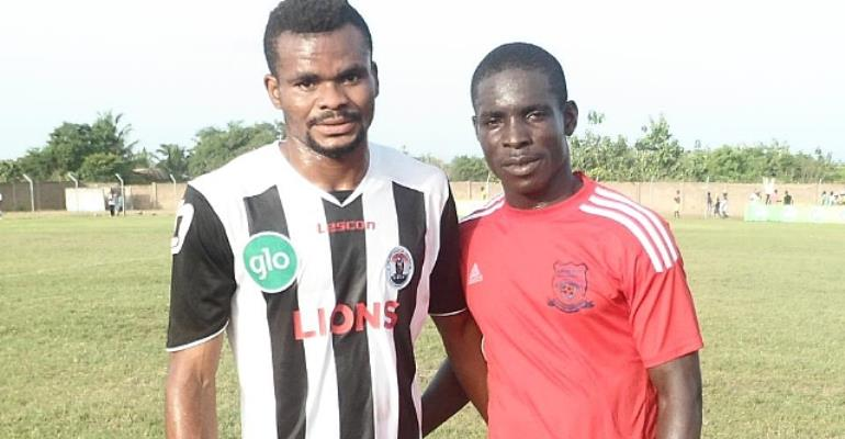 Selasi Adjei, left with Heart of Lions' Edem Kodjo, believes Hearts are ready for the league