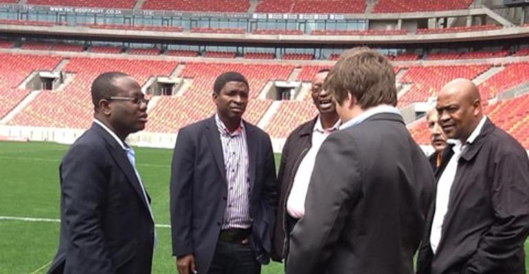 Kwesi Nyantakyi and Maxwell Konadu inspecting the Nelson Mandela Bay Stadium