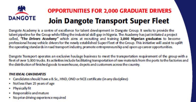 6 PHD, 704 Masters, 8, 460 Bachelors Degree Holders Jostle For 2,000 Dangote's Driving Jobs