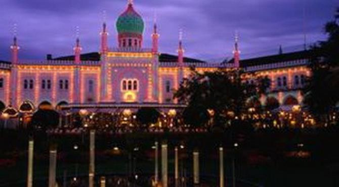 Tivoli Gardens is 15 magical city-centre acres of green gardens, lakes with pagodas, dragon boats and roller coasters. (Anders Blomqvist/LPI)