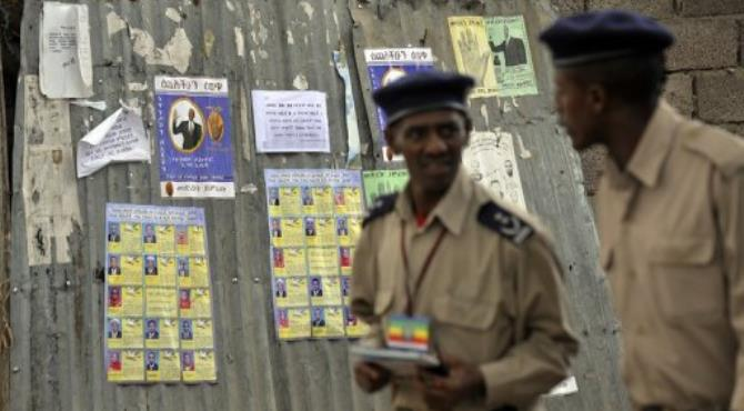 Ethiopian police officers patrol in Addis Ababa.  By Simon Maina (AFP/File)