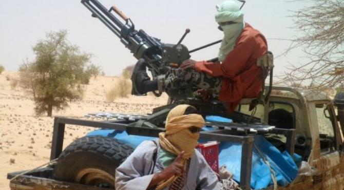 A picture taken in April 2012 shows Islamists rebels of Ansar Dine near Timbuktu.  By Romaric Ollo Hien (AFP/File)