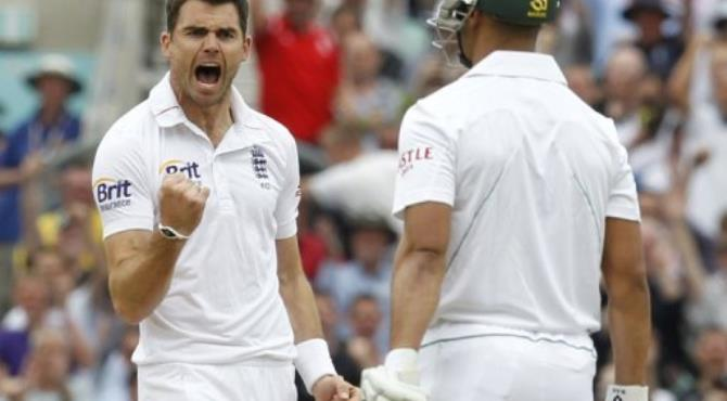 England's James Anderson celebrates taking the wicket of South Africa's Alviro Petersen for 0.  By Ian Kington (AFP)