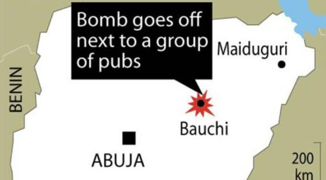 A home-made explosive device was planted in an unfinished building next to a group of pubs.  By  ()