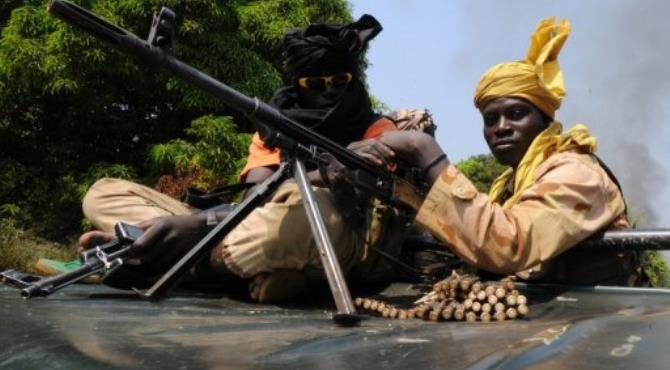 Seleka coalition rebels in the Central African Republic patrol near Damara on January 10, 2013.  By Sia Kambou (AFP)