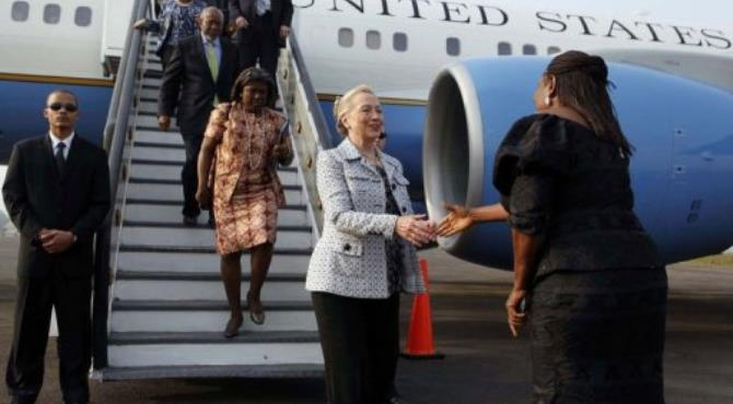Clinton's tour is the first visit of a secretary of state in Cote d'Ivoire since 1986.  By Larry Downing (AFP/POOL)