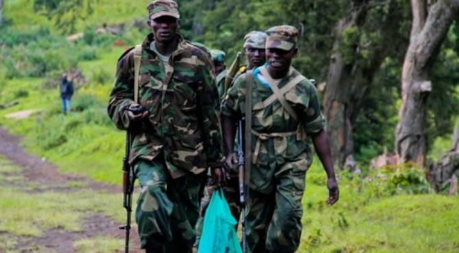 March 23 Movement (M23) rebel soldiers are seen in North Kivu.  By Melanie Gouby (AFP/File)