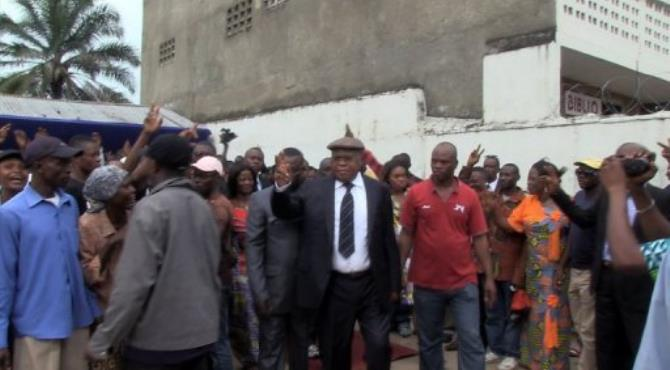 Veteran opposition leader Etienne Tshisekedi (C), is pictured with supporters in 2011.  By  (AFP/File)