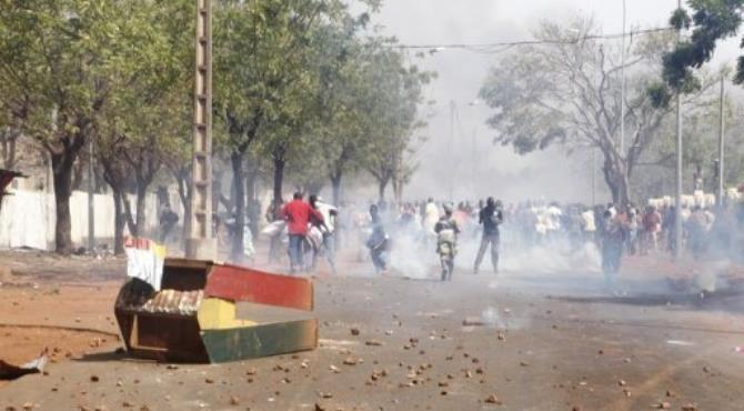 Supporters of Malian soldiers fighting rebel Tuareg in the north clash with security forces in Bamako, February 2.  By  (AFP/File)