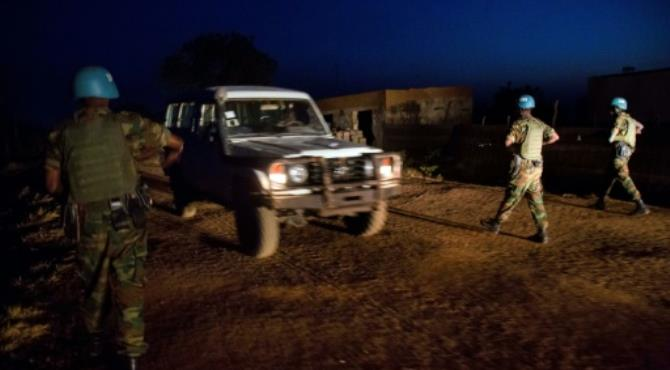 Peacekeepers from Ethiopia deployed in the United Nations Interim Security Force for Abyei patrol on December 14, 2016.  By Albert Gonzalez Farran (AFP)