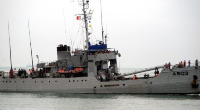 A Nigerian naval ship taking part in a joint counter-piracy patrol by the Nigerian and Benin navies in September.  By  (AFP/File)