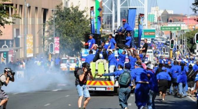 Hundreds if DA marchers took to the streets in Johannesburg.  By Alexander Joe (AFP)