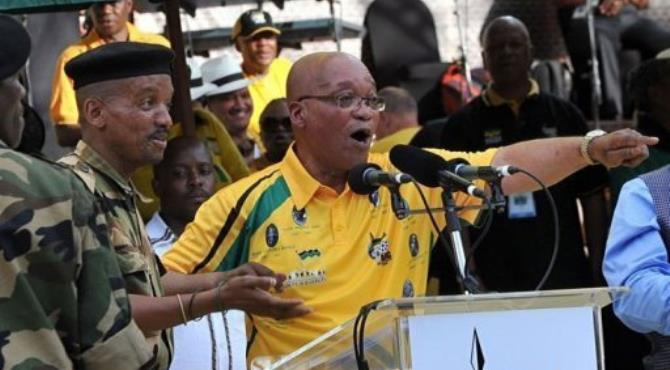 South Africa's president Jacob Zuma sings during celebrations in Bloemfontein.  By Alexander Joe (AFP)