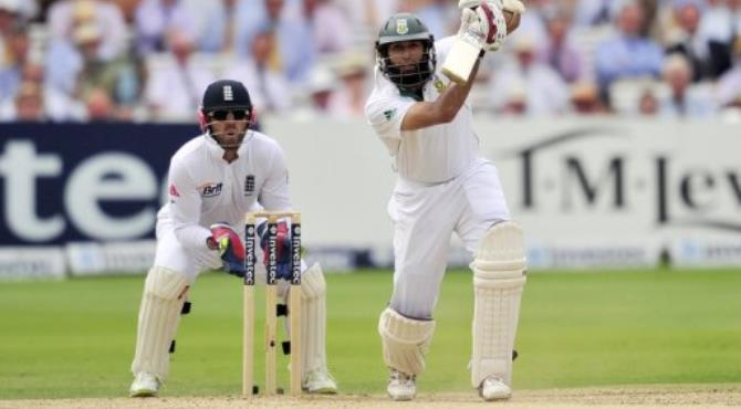 Hashim Amla was 94 not out when rain stopped play.  By Glyn Kirk (AFP)