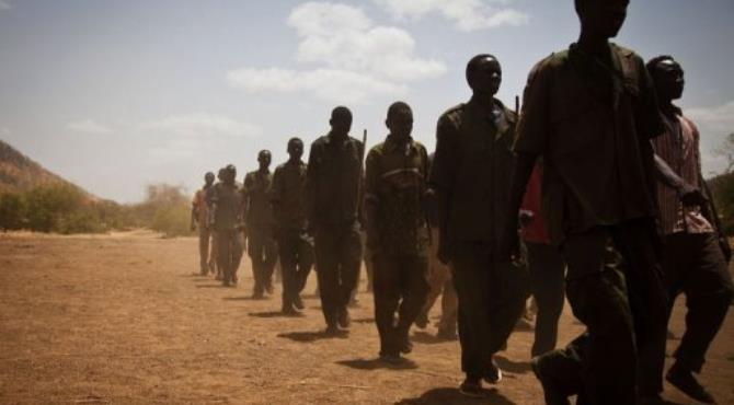 Sudan People's Liberation Movement (SPLA-N) rebel soldiers train in the Nuba Mountians.  By Adriane Ohanesian (AFP/File)