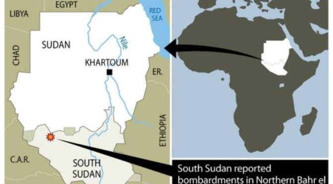 South Sudan claimed Sudan has been bombing its territory for three days.  By  (AFP/Graphics)