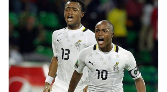 Dede Ayew(front) celebrates with his brother Jordan
