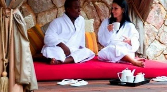 Outdoor relaxation area at the Pyramid Day Spa.