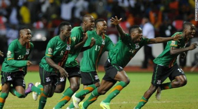Zambia's players celebrate after their winning penalty in the shoot out against Ivory Coast.
