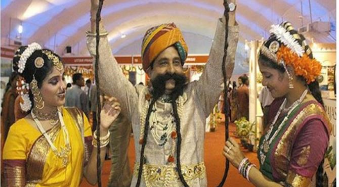 At 14 foot, Ram Singh Chauhan has the world's longest mustache (AFP/Getty)