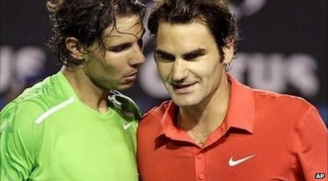 Nadal's powerful forehand strokes were too strong for Federer (right)