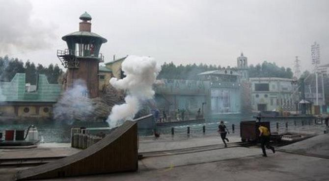 At China's Chimelong Paradise, Countdown is a live action show with jumping jet skis and large explosions. (Kieran Nash)