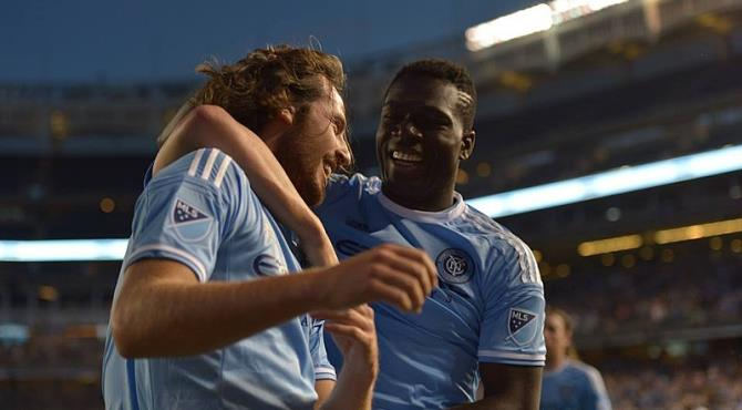 Kwadwo Poku celebrates his goal for New York City FC