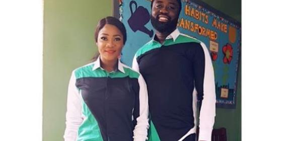 Nollywood Actress, Mercy Johnson Steps out with Hubby in Matching Outfit