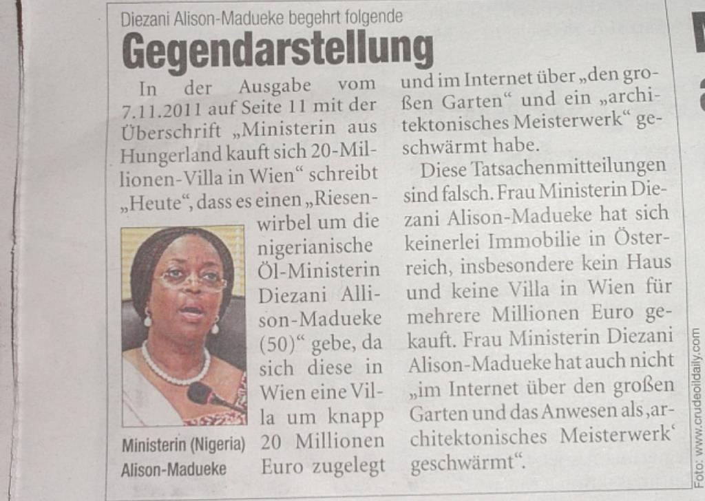 Breaking News: Oil Minister Mrs  Alison Madueke Has No Villa