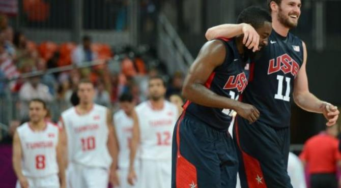 US forward Kevin Love (R) and US gard James Harden celebrate.  By Timothy A. Clary (AFP)