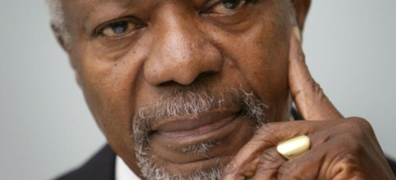 World leaders have expressed their sadness at the death of former United Nations Secretary General and Nobel Peace Prize laureate Kofi Annan.  By Fabrice COFFRINI (AFP/File)