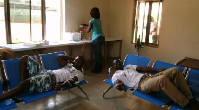 Some of the youth donating blood
