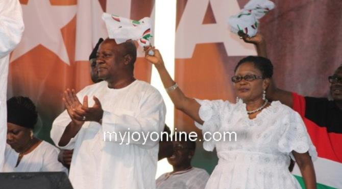 President Mahama and wife, Lordina Mahama at the victory party