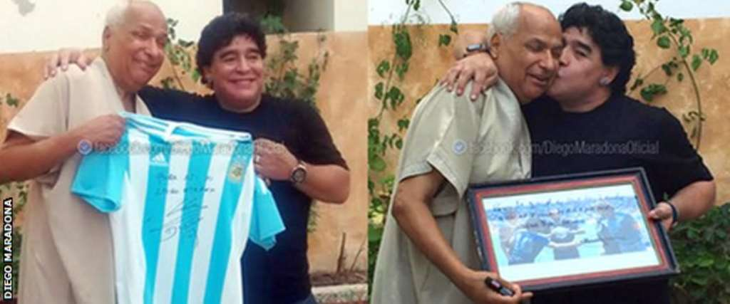 Maradona meets and thanks referee in 'Hand of God' game