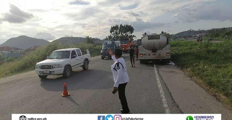 Nsawam: Fuel tanker accidents blocks portion of Accra-Kumasi road