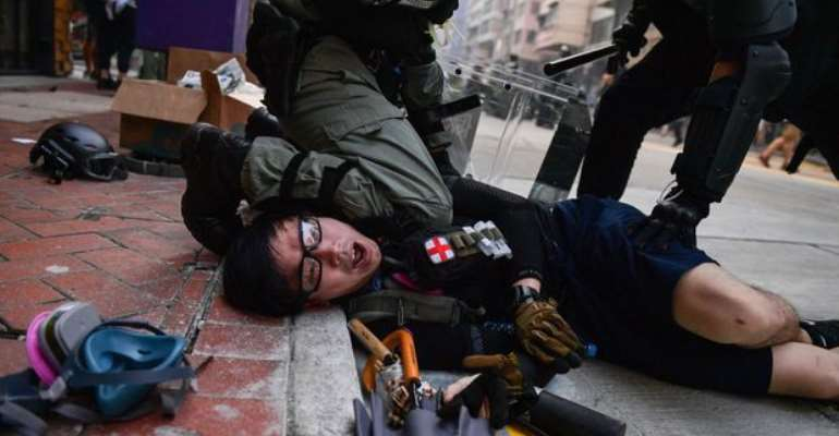 Chinese protester in Hong Kong  shot by Police