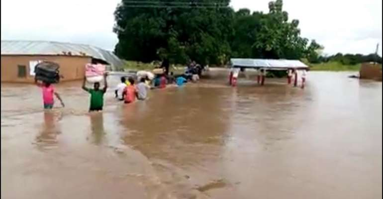 Affected persons salvaging their properties in West Mamprusi