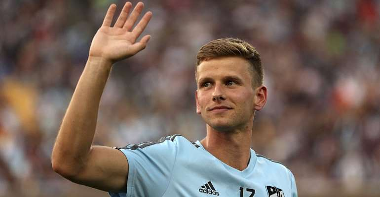 Minnesota United midfielder Collin Martin waves to fans after taking part in a halftime presentation during the team's MLS soccer match against FC Dallas on June 29, 2018, in Minneapolis.Anthony Souffle / Star Tribune via AP