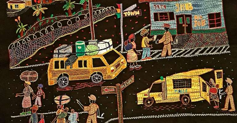 Embroidery by a woman who lived through traumas of apartheid. - Source: Puleng Segalo