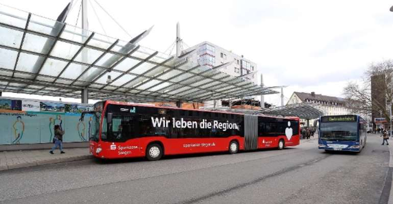 At the central bus station in Siegen-Germany: A bus driver was caught with drugs by the police.