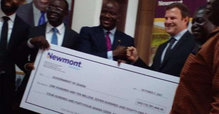 Newmont Akyem Mine presents over GH¢110 million dividend to government for 2021 financial year