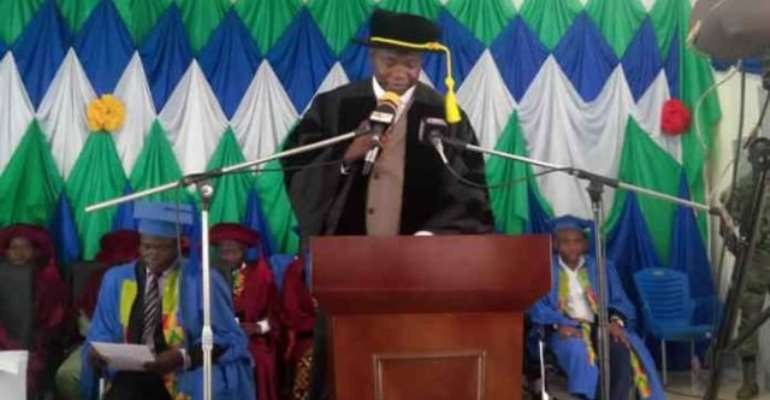 The Acting Principal of the Wa Campus of UDS, Prof. Emmanuel K. Derbile speaking at the ceremony