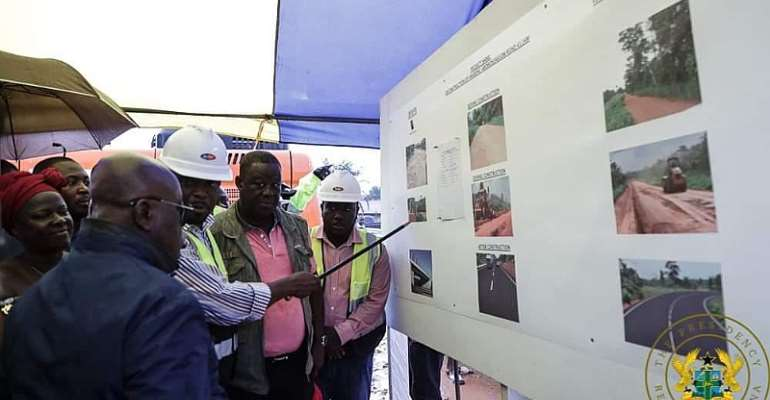 President Akufo-Addo being taken through the project by the contractor